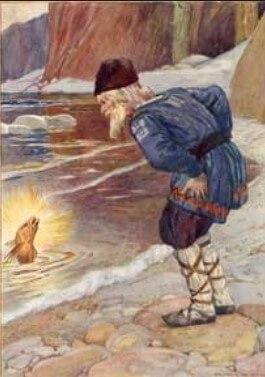 Yaşlı balıkçı altın balık